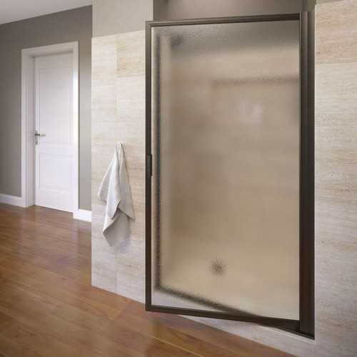 Basco Deluxe 29 in. x 63-1/2 in. Framed Pivot Shower Door in Oil Rubbed Bronze with Obscure Glass