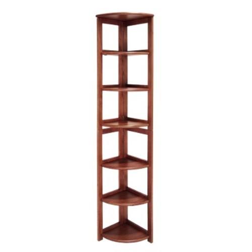 6 Shelf Flip-Flop Folding Corner Bookcase Cherry - Regency