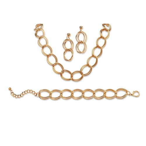 3 Piece Double Curb-Link Necklace, Bracelet and Earrings Set [option : Yellow]