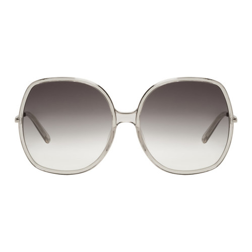 CHLOÉ Silver & Grey Oversized Sunglasses