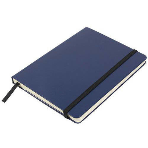 JAM Paper Hardcover Notebook with Elastic Band, Medium, 5 x 7 Journal, Blue, 100 Lined Sheets, Sold Individually