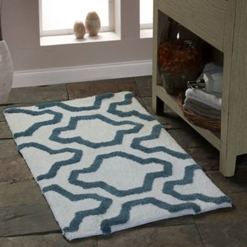 Saffron Fabs 2 Piece 100pct Soft Cotton Bath Rug Set; White/New Blue
