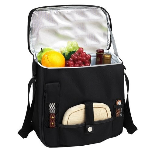 Picnic at Ascot Wine and Cheese Picnic Basket/Cooler with hardwood cutting Board, Cheese Knife and Corkscrew - Black [Black]