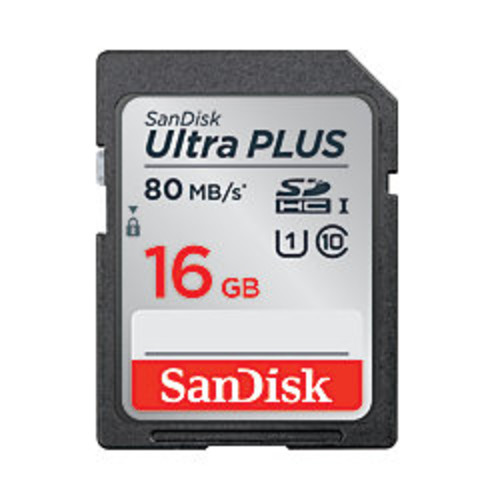 SanDisk Ultra PLUS SDHC Memory Card, 16GB