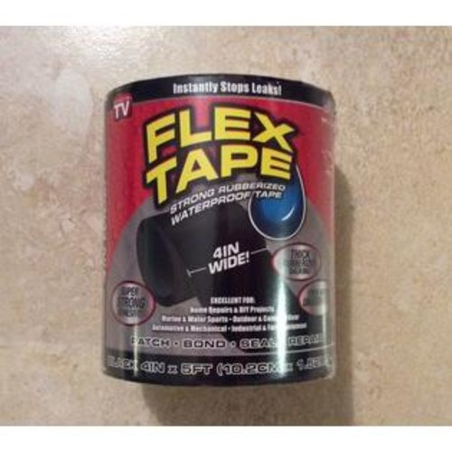 Flex Tape TFSBLKR0405 Rubberized Waterproof Tape, Black, 4