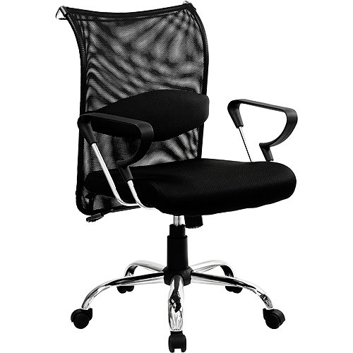 Flash Furniture Mid-Back Black Mesh Swivel Manager's Chair with Adjustable Lumbar Support and Arms [Black]