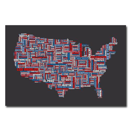Trademark Global Michael Tompsett 'US Cities Text Map' Canvas Art