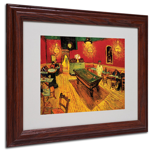 Trademark Global Vincent van Gogh 'Night Cafe' Matted Framed Art [Overall Dimensions : 11x14]