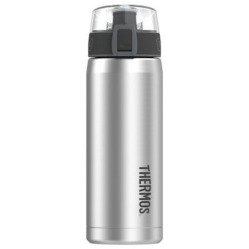 Thermos 18 oz. Vacuum-Insulated Hydration Water Bottle with Meter in Stainless Steel