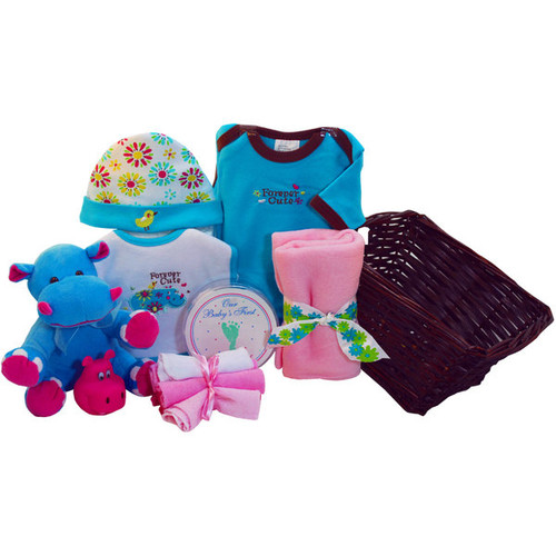 Art of Appreciation Forever Cute Happy Hippo Baby Gift Basket - Baby Girl, For Her