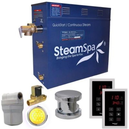 SteamSpa Royal 4.5kW QuickStart Steam Bath Generator Package with Built-In Auto Drain in Polished Chrome