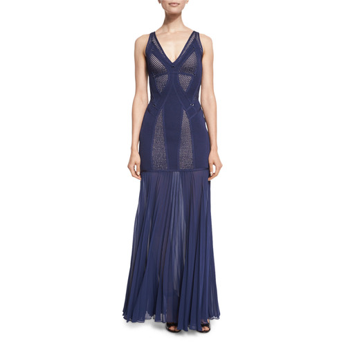 HERVE LEGER Sleeveless Gown With Pleated Chiffon Skirt, Navy