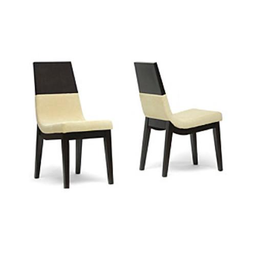 Baxton Studios Set of 2 Prezna Dark Brown and Beige Modern Dining Chairs