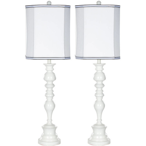 Safavieh Polly Candlestick Lamp with CFL Bulb, White with Off-White Shade, Set of 2