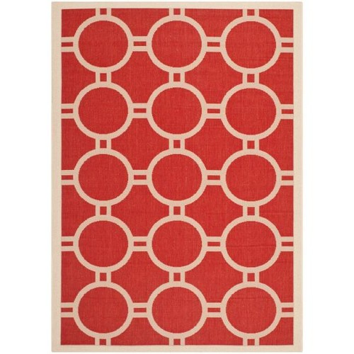 Safavieh Courtyard Red/Bone 4 ft. x 6 ft. Indoor/Outdoor Area Rug