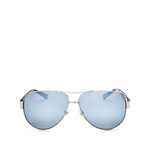 TORY BURCH Mirrored Polarized Brow Bar Aviator Sunglasses, 62Mm
