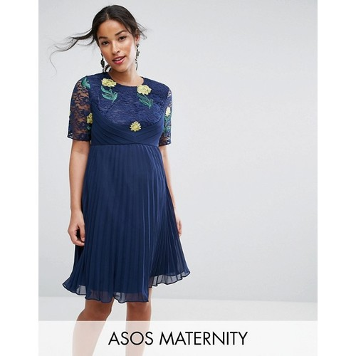 ASOS Maternity Embroidered Mini Pleat and Lace Dress