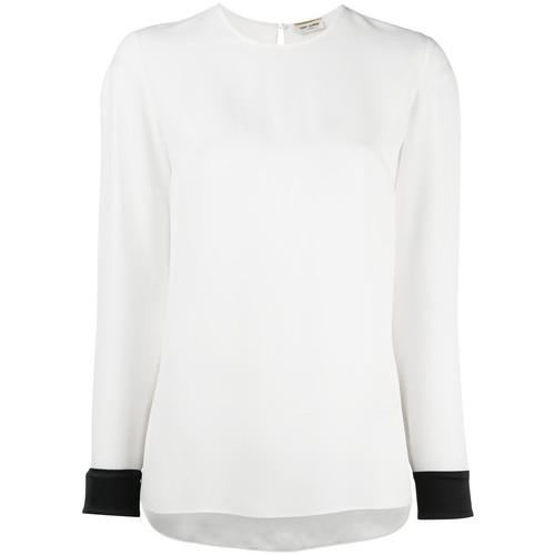 SAINT LAURENT Contrast Cuff Blouse