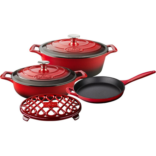 La Cuisine PRO 6-Piece Enameled Cast Iron Cookware Set with Saute, Skillet and Oval Casserole with Trivet in Red