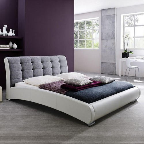 Baxton Studio Guerin Faux-Leather Two-Tone Tufted Queen Platform Bed