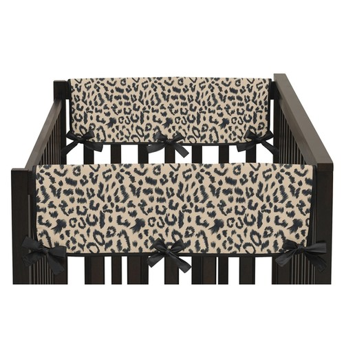 Sweet Jojo Designs Animal Safari Collection Leopard Print Side Crib Rail Guard Covers (Set of 2)
