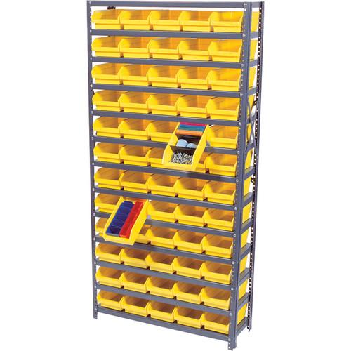 Quantum Storage 60 Bin Shelf Unit  18in. x 36in. x 75in. Rack Size, Yellow, Model# 1875-104 YW