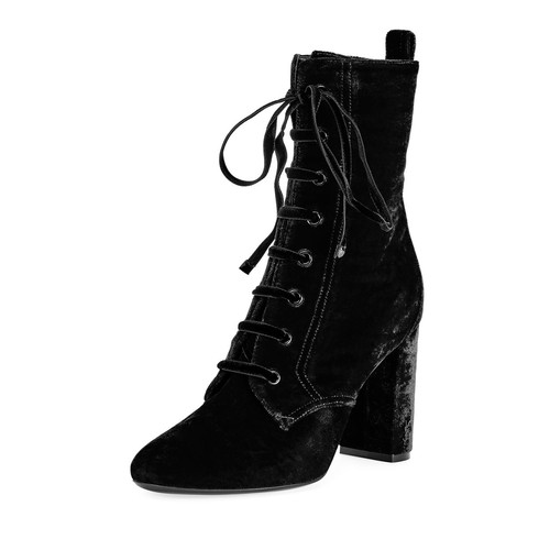 SAINT LAURENT Loulou Velvet Lace-Up Boot