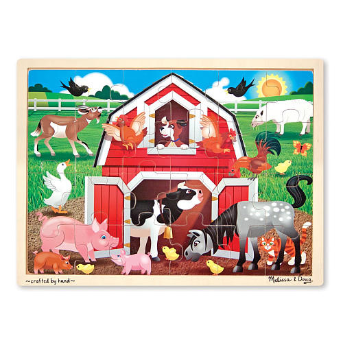 Melissa & Doug Barnyard Wooden Jigsaw Puzzle With Storage Tray (24 pcs)