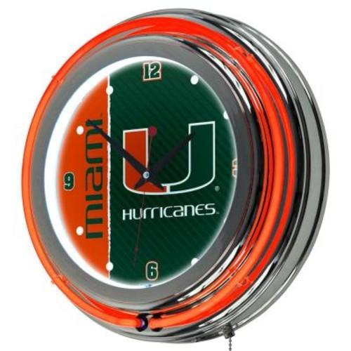 Trademark Global University of Miami 14 in. Round Wordmark Neon Wall Clock