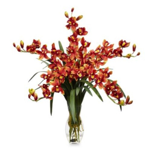 Nearly Natural Silk Cymbidium Orchid w/ Vase Flower Arrangement - Burgundy