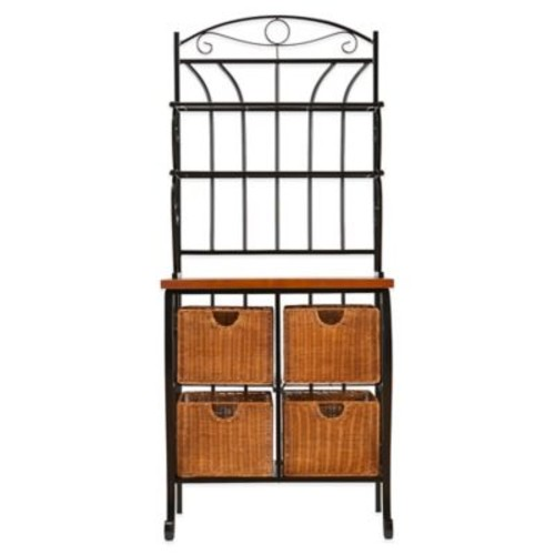 Southern Enterprises Iron & Rattan Baker's Rack in Black/Oak