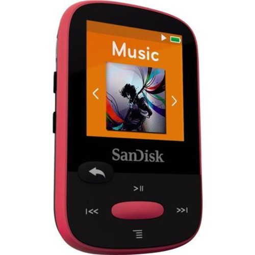 SanDisk 8GB Clip Sport MP3 Player, 1.44 LCD Display, Pink SDMX24-008G-A46P