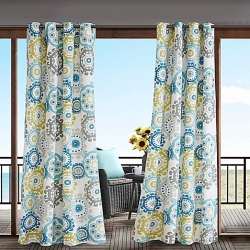 Madison Park Laguna 84-Inch 3M Scotchgard Grommet Top Outdoor Curtain Panel in Blue