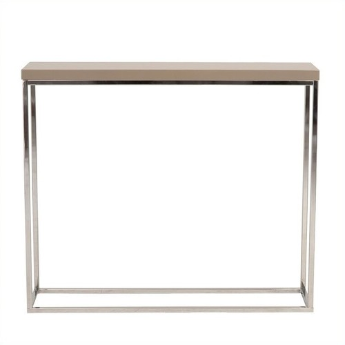 Euro Style Teresa Rectangular Lacquer Top Side Table, White with Polished Stainless Steel [White, Side]