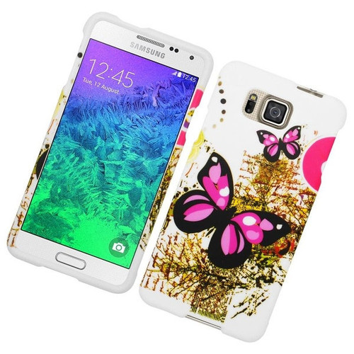 Insten Pink/ White Butterfly Hard Snap-on Rubberized Matte Case Cover For Samsung Galaxy Alpha