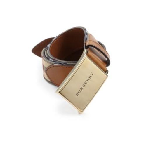 BURBERRY Leather-Trimmed Plaid Belt