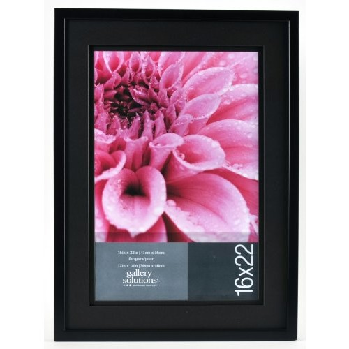GALLERY SOLUTIONS 16x22 Black Wood Wall Frame with Double Black Mat For 12x18 Image #12FW2653 [16 inches x 22 inches]