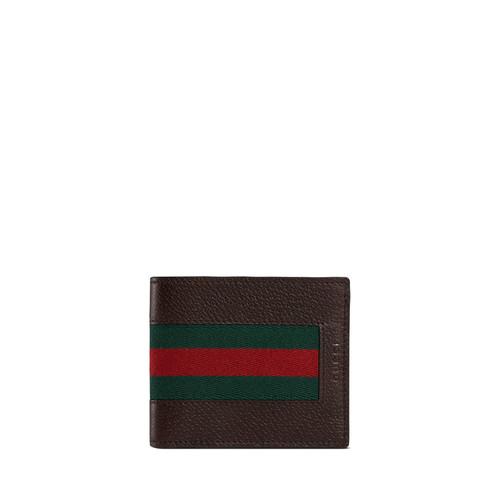 GUCCI Web Leather Bi-Fold Wallet, Brown