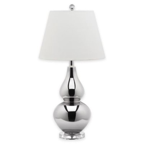 Safavieh Cybil Double Gourd Table Lamp in Silver with Tapered Cotton Shade