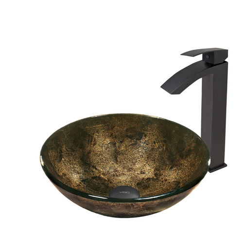 VIGO Sintra Glass Vessel Sink and Seville Faucet Set in Matte Black Finish