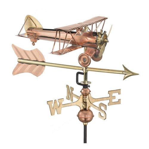 Good Directions Biplane with Arrow Garden Weathervane-Pure Copper with Garden Pole
