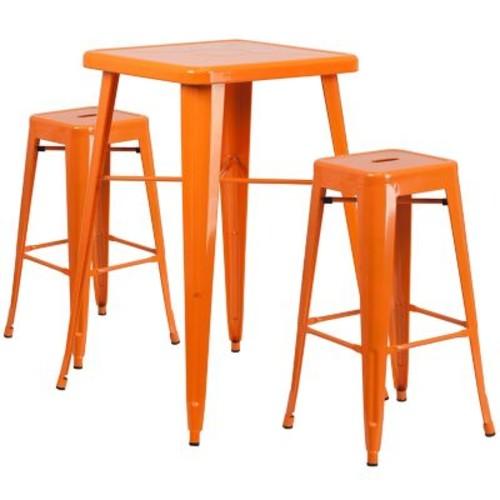Flash Furniture Metal Indoor-Outdoor Bar Table Set, Orange with 2 Backless Barstools (CH31330B230SQOR)