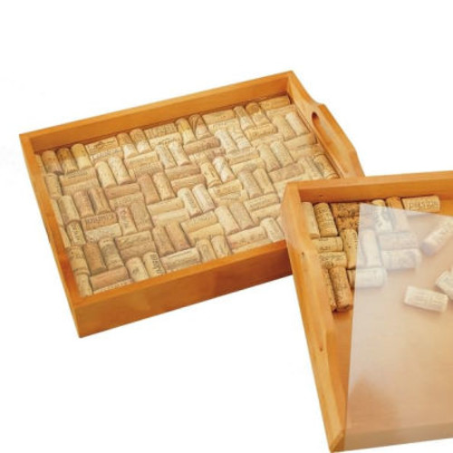 Square Wine Cork Serving Tray Kit