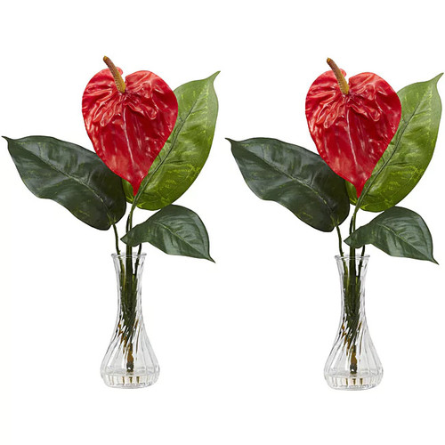 Nearly Natural Anthurium with Bud Vase Silk Flower Arrangements (Set of 2)