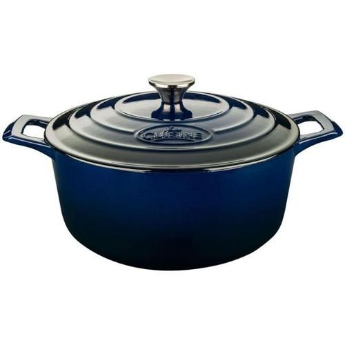 La Cuisine Pro 5 Qt. Cast Iron Round Casserole with Blue Enamel