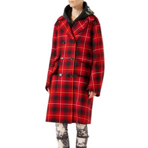 GUCCI Embroidered Wool Tartan Overcoat