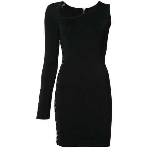BALMAIN One-Shoulder Lace-Up Eyelet Dress