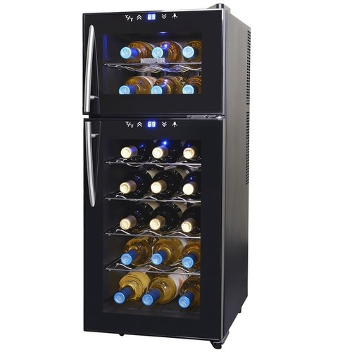 Air AW-210ED 21 Bottle Dual Zone Thermoelectric Wine Cooler, Black