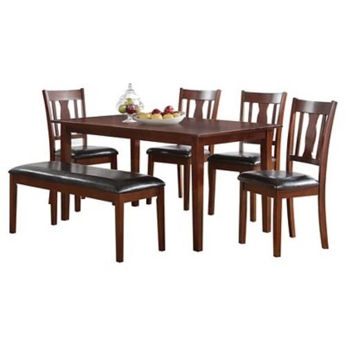 6 Piece Jayden Dining Set Wood/Brown Cherry - Acme