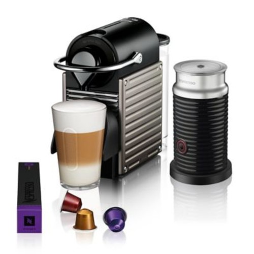 Nespresso by Breville Pixie Espresso Maker Bundle with Aeroccino Frother in Titanium